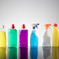 Set of different cleaning products